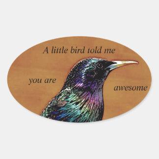 A Little Bird Told Me Starling Bird Photograph Oval Sticker