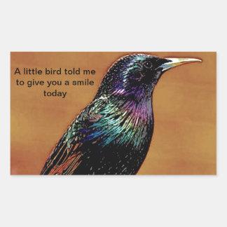 A Little Bird Told Me Starling Bird Photograph Rectangular Sticker