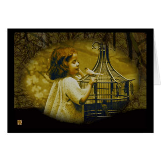 A Little Bird Told Me Vintage Greeting Card