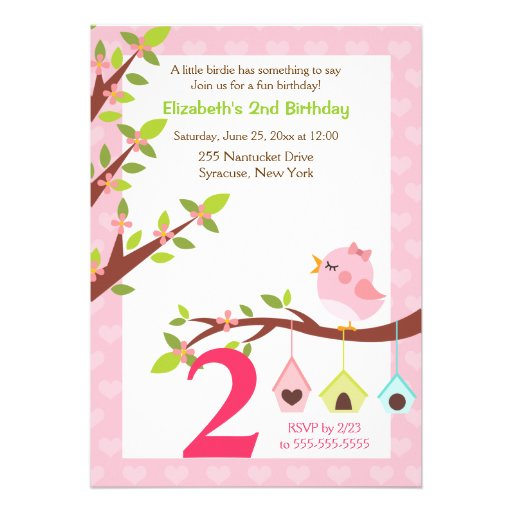 A Little Birdie Birthday Invitation (Any Age) Pink Personalized Invite