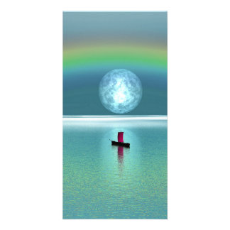 A little boat in the ocean with moon and rainbow personalised photo card