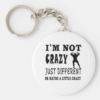 A Little Crazy for Body Building Basic Round Button Key Ring