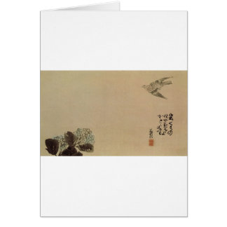 A little cuckoo across a hydrangea (Haiga) by Yosa Card
