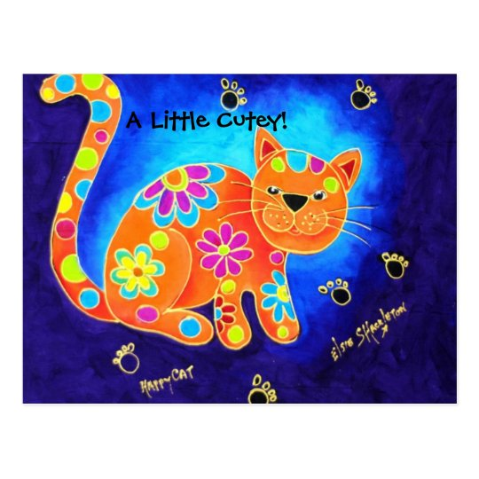 A Little Cutey! - Happy Blue Cat Postcard