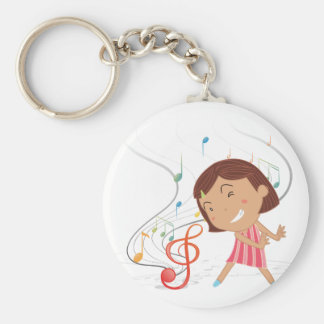 A little girl dancing with musical notes basic round button key ring