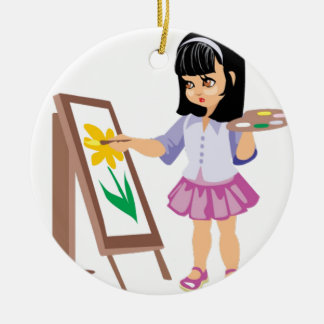 A Little Girl with a Paint Palette Ceramic Ornament