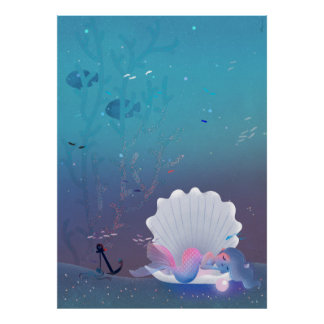 A little mermaid sleeping inside a seashell poster