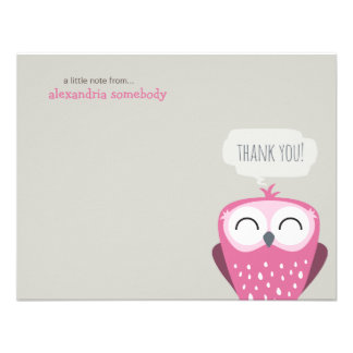 A Little Note Thank You Happy Pink Owl Invite