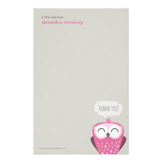 A Little Note Thank You Pink Owl Customized Stationery