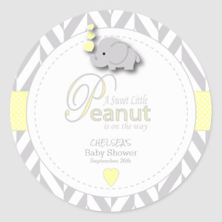 A Little Peanut Elephant Baby Shower Classic Round Sticker