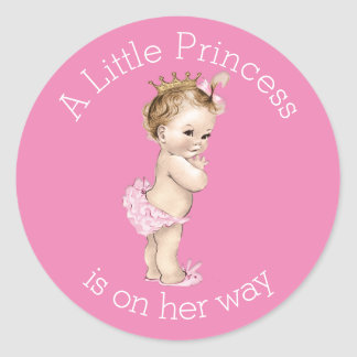 A Little Princess Baby Shower Pink Round Stickers