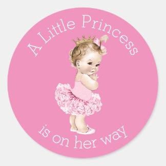 A Little Princess Ballerina Baby Shower Pink Classic Round Sticker