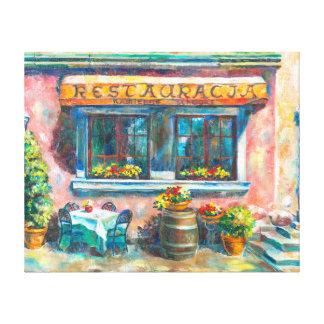 A little restaurant stretched canvas prints