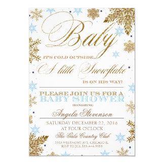 A little snowflake baby shower invitation boy