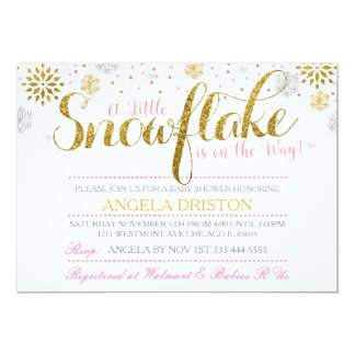 A little snowflake baby shower invitation pink