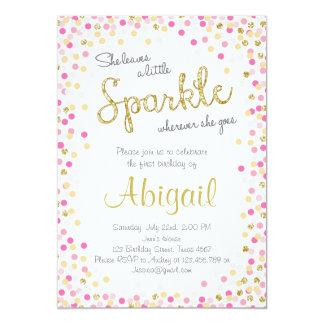 A little sparkle pink gold birthday invitation