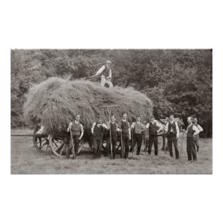 A loaded hay wagon and workers poster