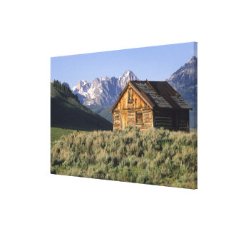 A log cabin and the Sawtooth Mountains in Gallery Wrapped Canvas