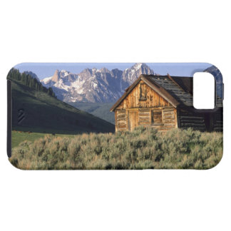 A log cabin and the Sawtooth Mountains in iPhone 5 Case