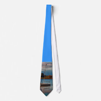 A lone boat, on a tie