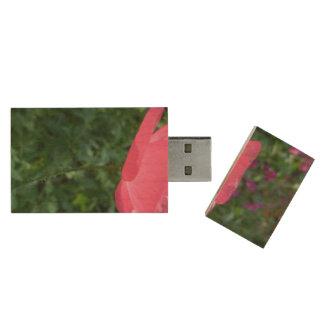 A Lone Poppy Wood USB Flash Drive