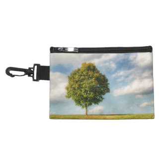 A Lone Tree Full of Life with a Blue Sky & Clouds Accessory Bags
