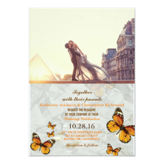 A lover couple in front of Louvre/butterfly Card