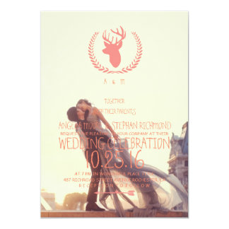 A lover couple in front of Louvre/deer theme Card