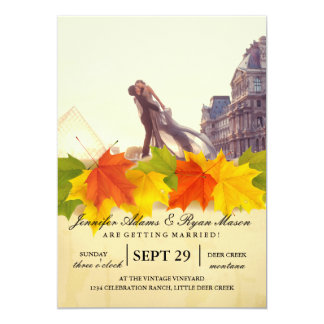 """A lover couple in front of Louvre/""""fall wedding"""" Card"""