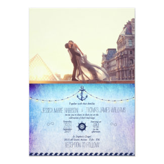 A lover couple in front of Louvre/nautic Card