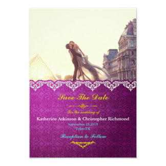 A lover couple in front of Louvre/purple vintage Card
