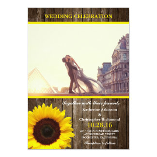 A lover couple in front of Louvre/rustic,sunflower Card