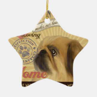 A Loving Pekingese Makes Our House Home Ceramic Star Decoration
