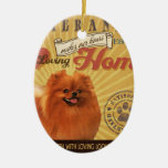 A Loving Pomeranian Makes Our House Home Ceramic Oval Decoration