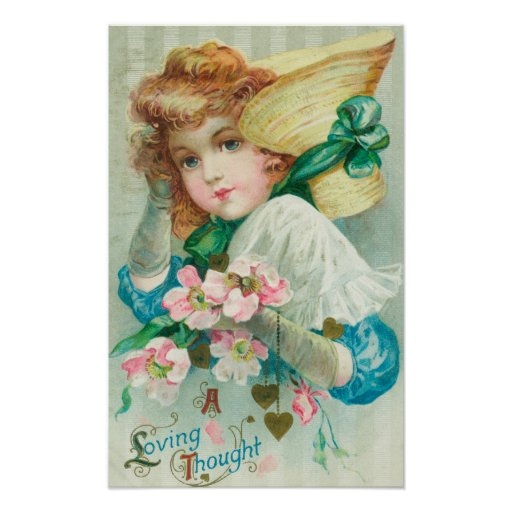 A Loving Thought Maiden with Bonnet Posters