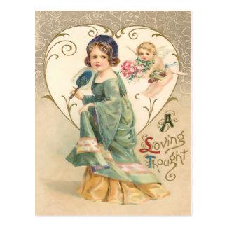 A Loving Thought Vintage Valentine Postcard