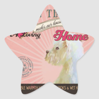 A Loving White Terrier Makes Our House Home Star Sticker