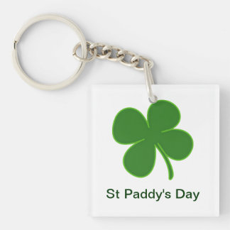 A Lucky Shamrock Charm Double-Sided Square Acrylic Key Ring