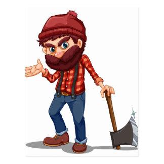 A lumberjack holding a sharp axe postcard
