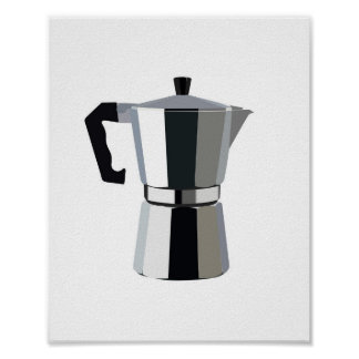 A macchinetta illustration Italian espresso coffee Poster