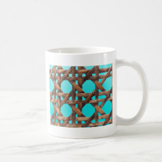 A macro photo of old wooden basketwork. coffee mug