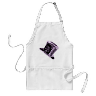 A Mad Hatter Hat in Black with Purple Tint Aprons