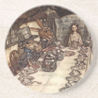A Mad Hatter Tea Party by Arthur Rackham Beverage Coasters