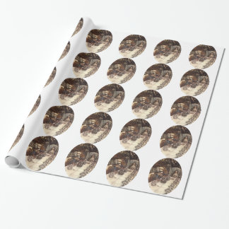 A Mad Hatter Tea Party Rackham Tiled Gift Wrap Paper