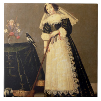 A Maid with a Broom Ceramic Tile