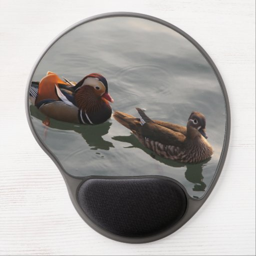 A Male Female pair of Mandrain Ducks Swimming Gel Mouse Pads
