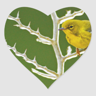 A Male Pine Warbler Perched on an Icy Branch Heart Sticker