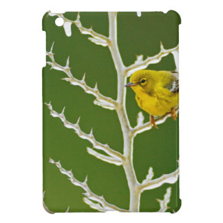 A Male Pine Warbler Perched on an Icy Branch iPad Mini Cover