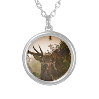 A Male Red Deer Blends in London's Richmond Park. Silver Plated Necklace