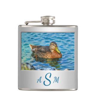 A Mallard Male Duck in the Water Hip Flask